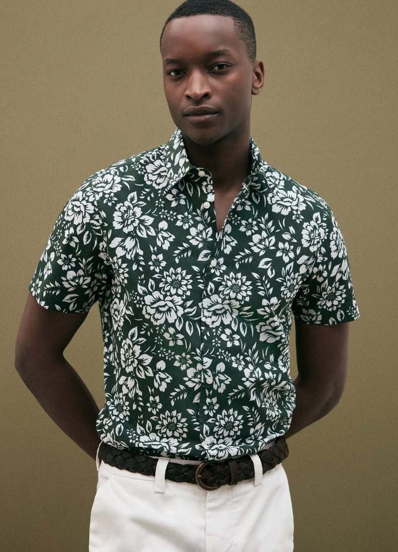 PIOMBO shirt with short sleeves and floral print image number null