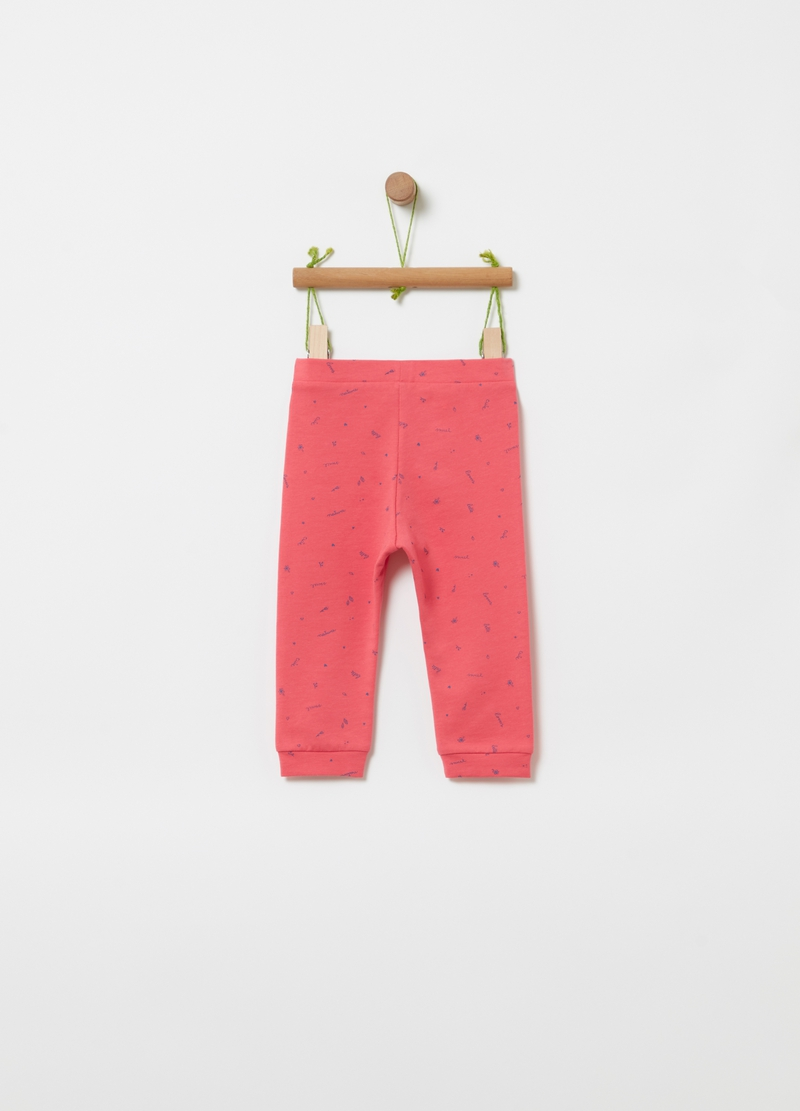 Joggers in cotone bio stampa all-over image number null