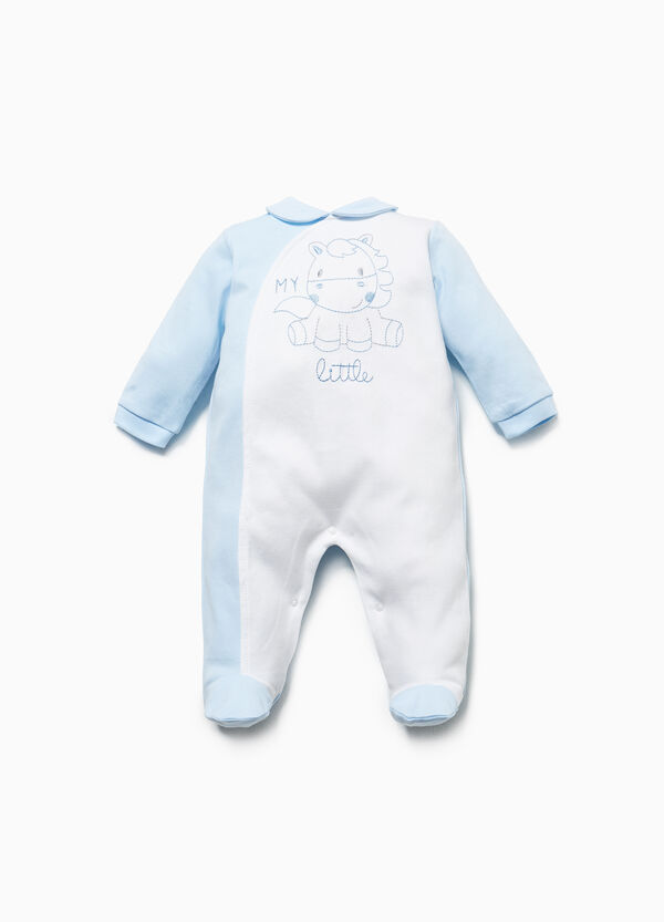 Two-tone onesie with horse embroidery