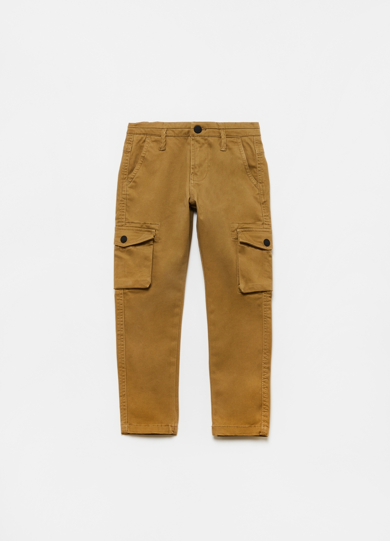 Pantaloni cargo in cotone stretch image number null