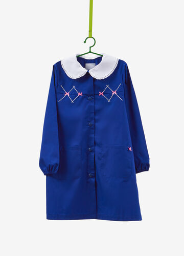 Cotton smock with embroidery and bows