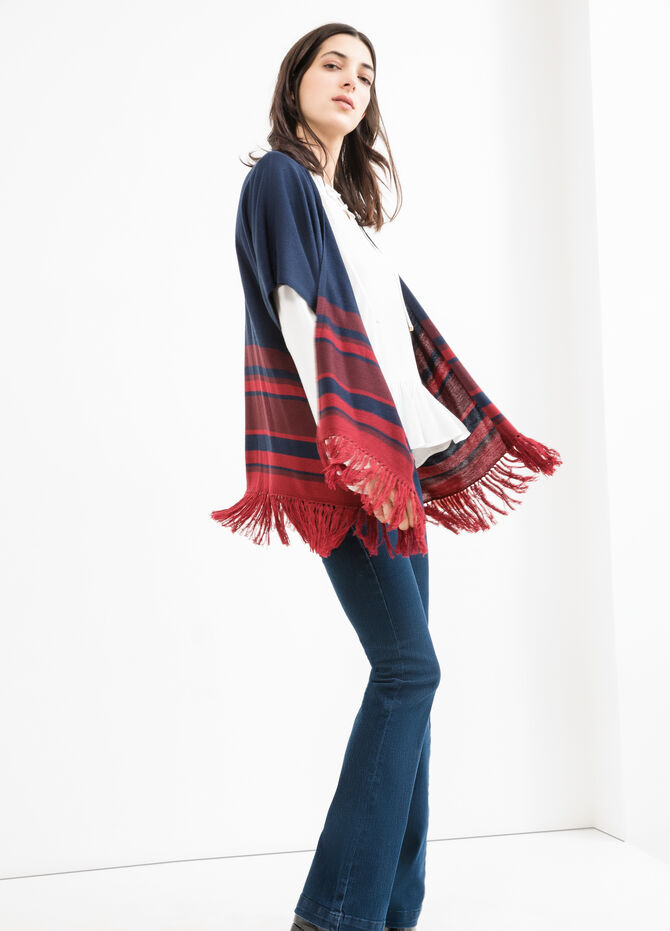 Cardigan con frange fantasia a righe