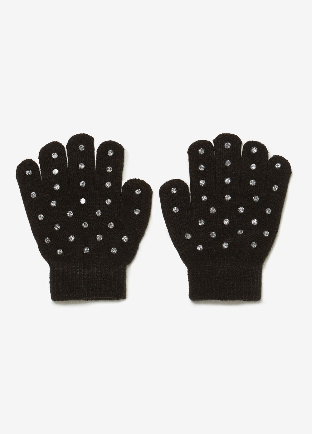 Solid colour gloves with glitter