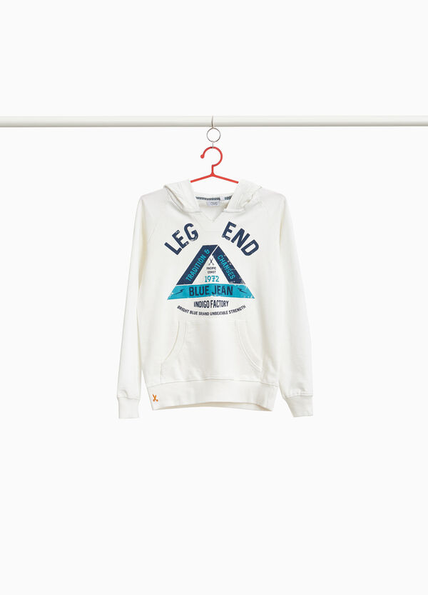 Sweatshirt in 100% cotton with print and embroidery