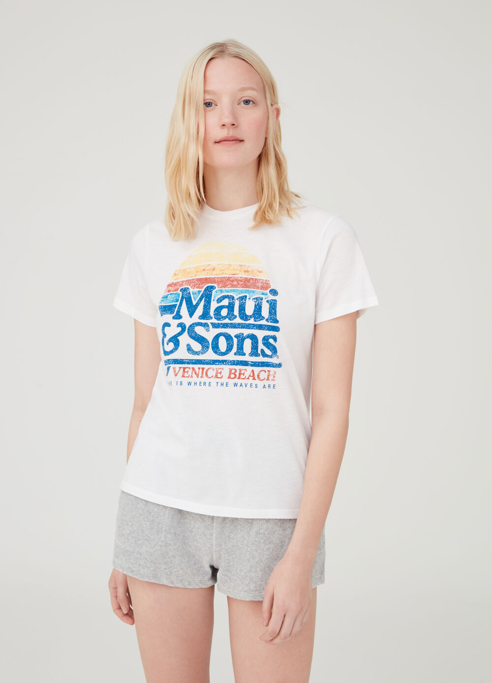 Cotton T-shirt with Maui and Sons print