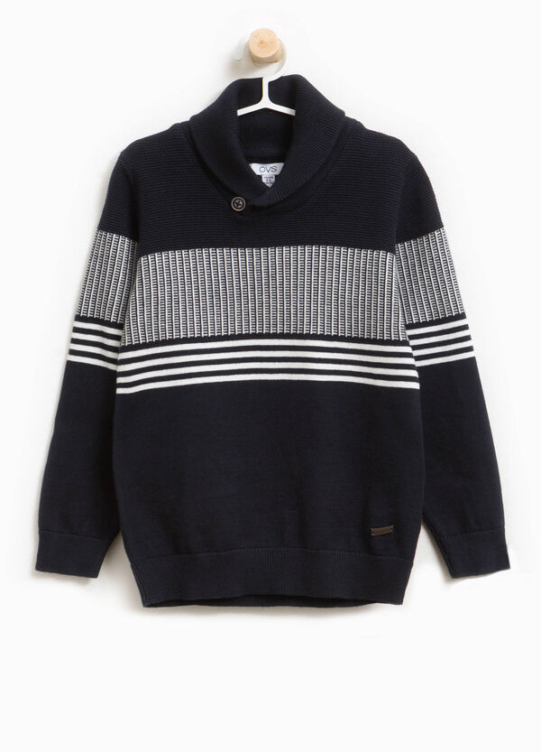 Knitted pullover in printed cotton