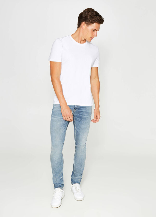 Jeans slim fit stretch maltinti baffature | OVS