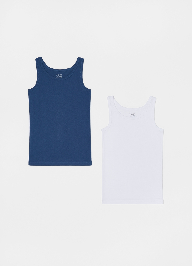 Two-pack racerback vests in cotton image number null