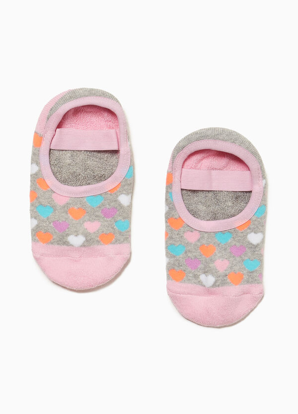 Slipper socks with heart pattern