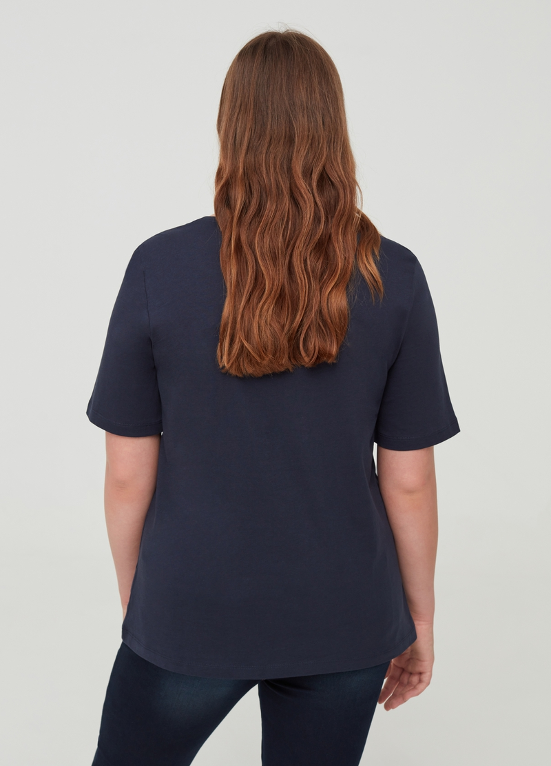 Curvy 100% cotton T-shirt with paisley print image number null