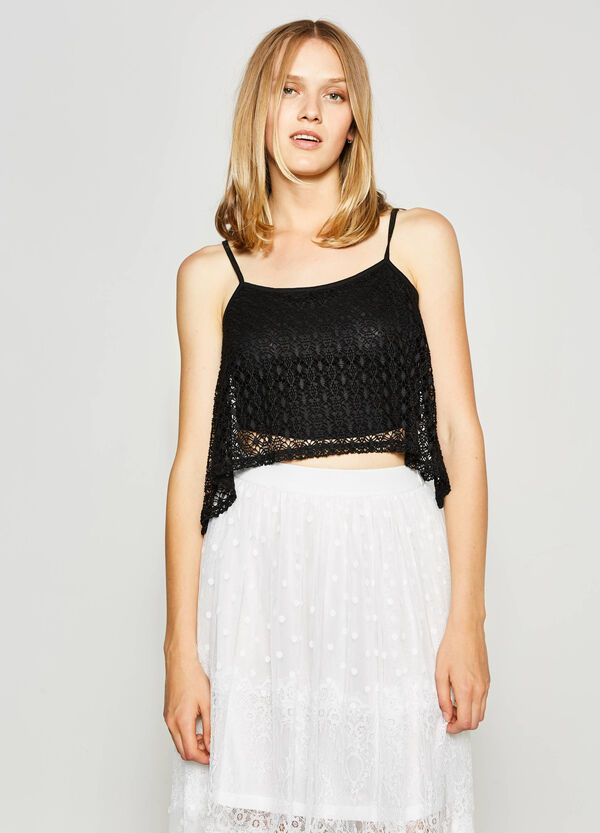 Top crop con pizzo asimmetrico | OVS