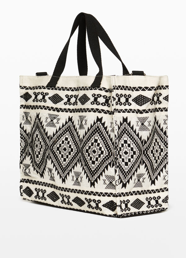Beach bag in cotton with ethnic pattern