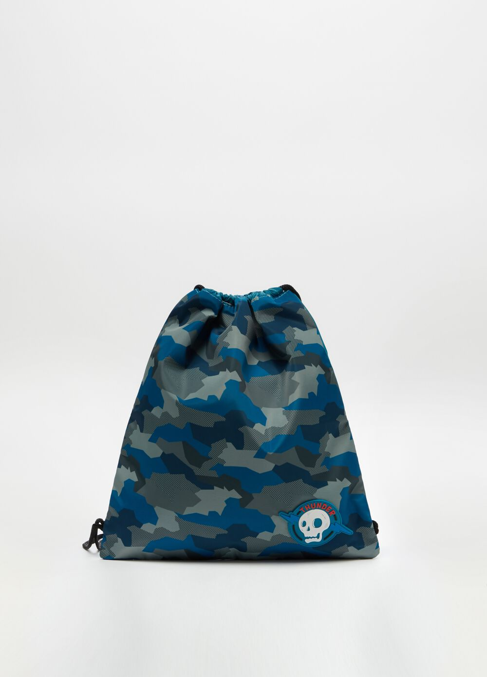 Camouflage rain backpack with skull