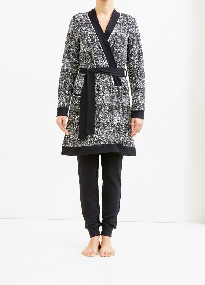 Patterned stretch viscose robe