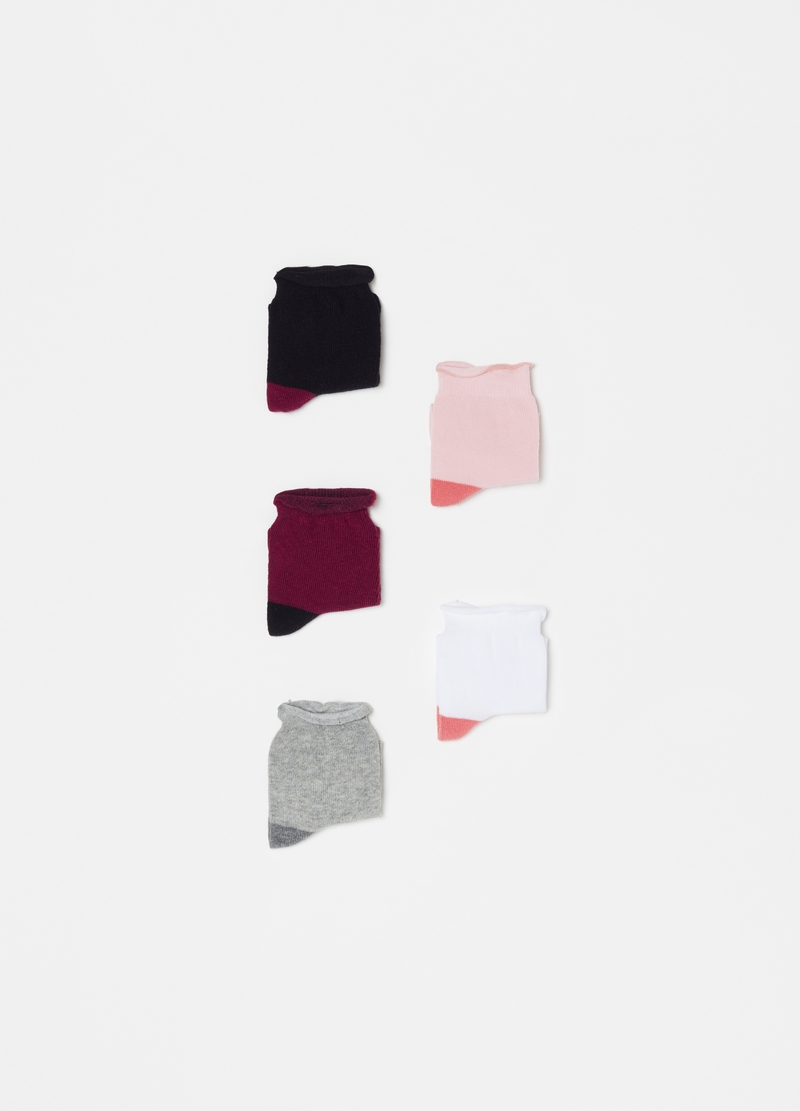 Five-pair pack short socks with contrasting heel image number null