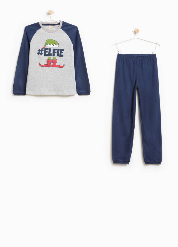 Solid colour pyjamas with elf print