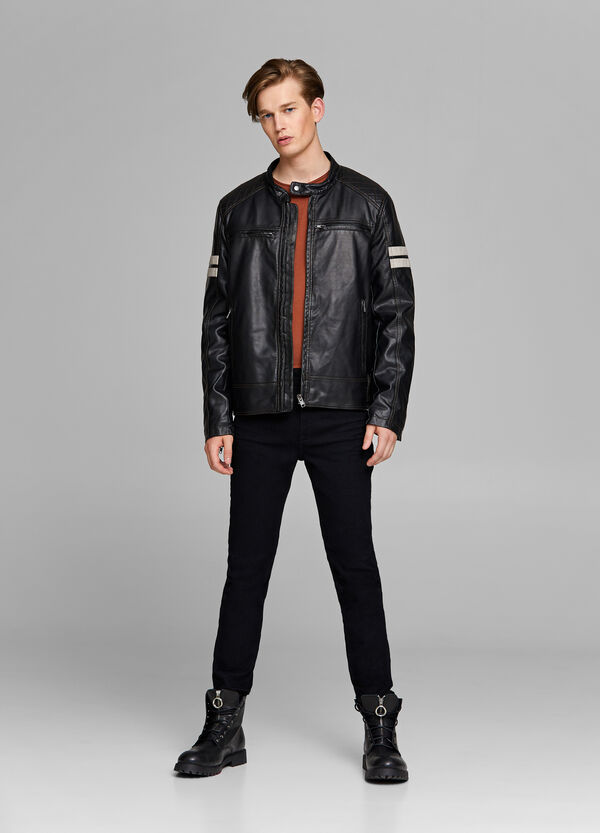 Leather-look jacket with bands