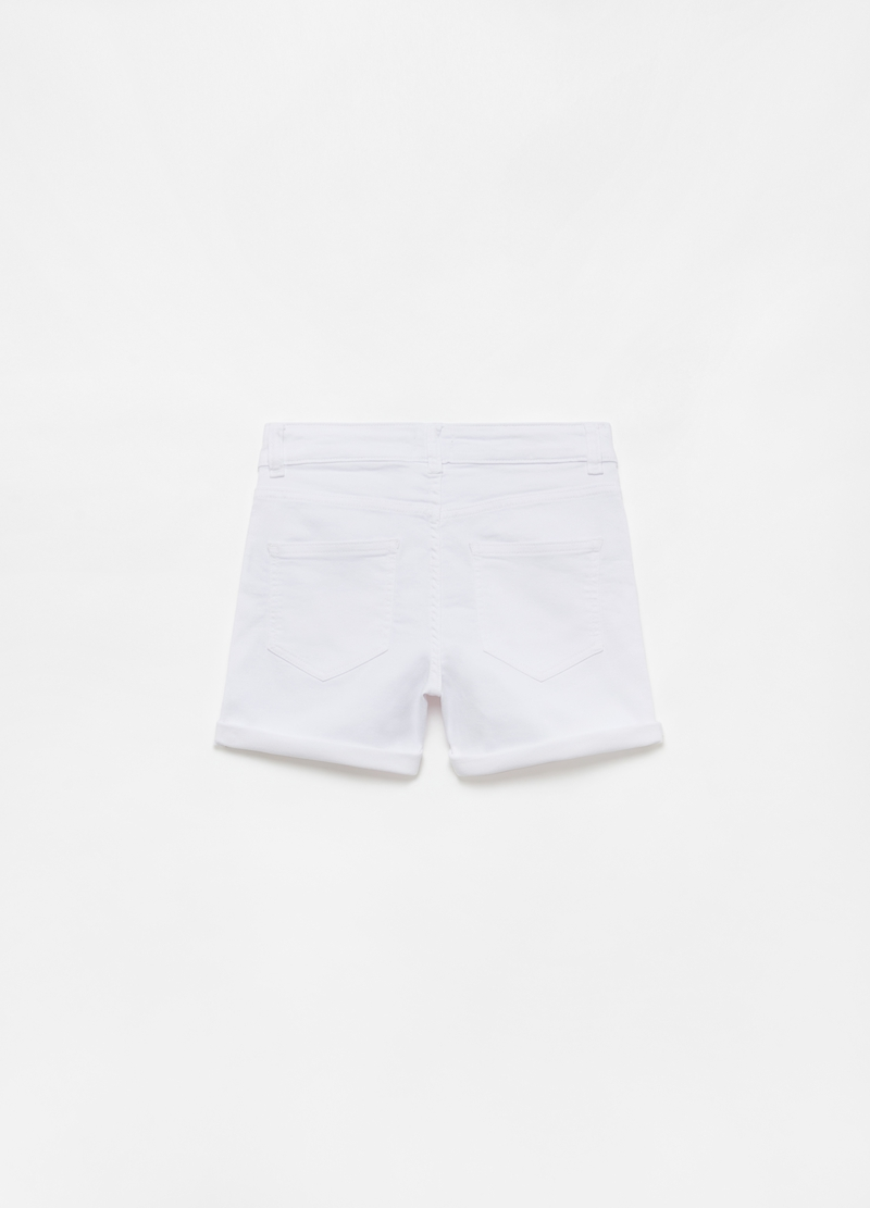 Solid colour denim shorts image number null