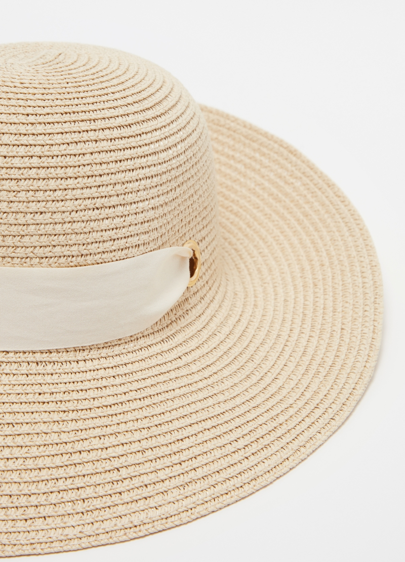 Straw cloche hat with ribbon image number null