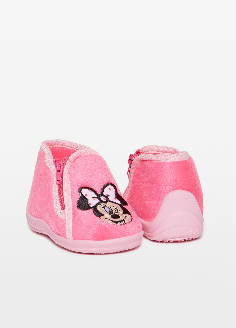 Slippers with zip and Minnie Mouse patch