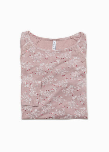 Floral viscose pyjama top with lace