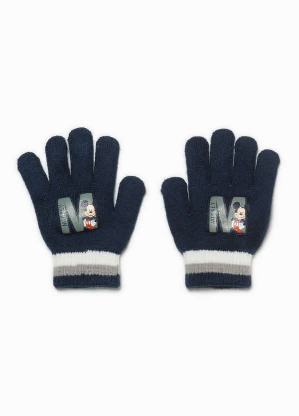 Stretch knitted gloves with Mickey Mouse print | OVS