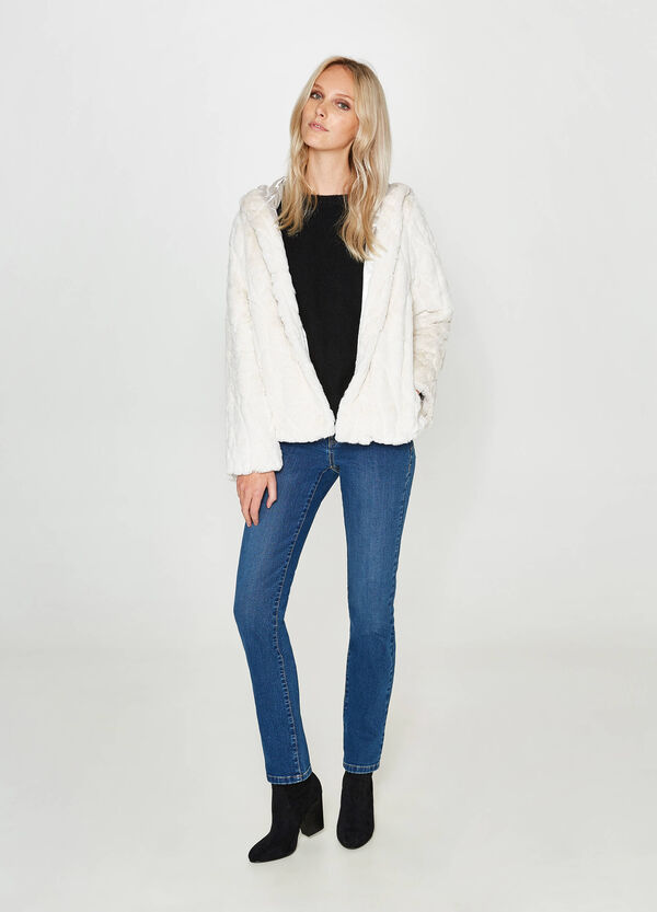 Faux fur jacket with hook | OVS