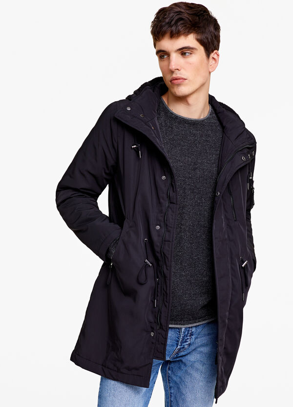 Solid colour parka with inner lining in faux fur