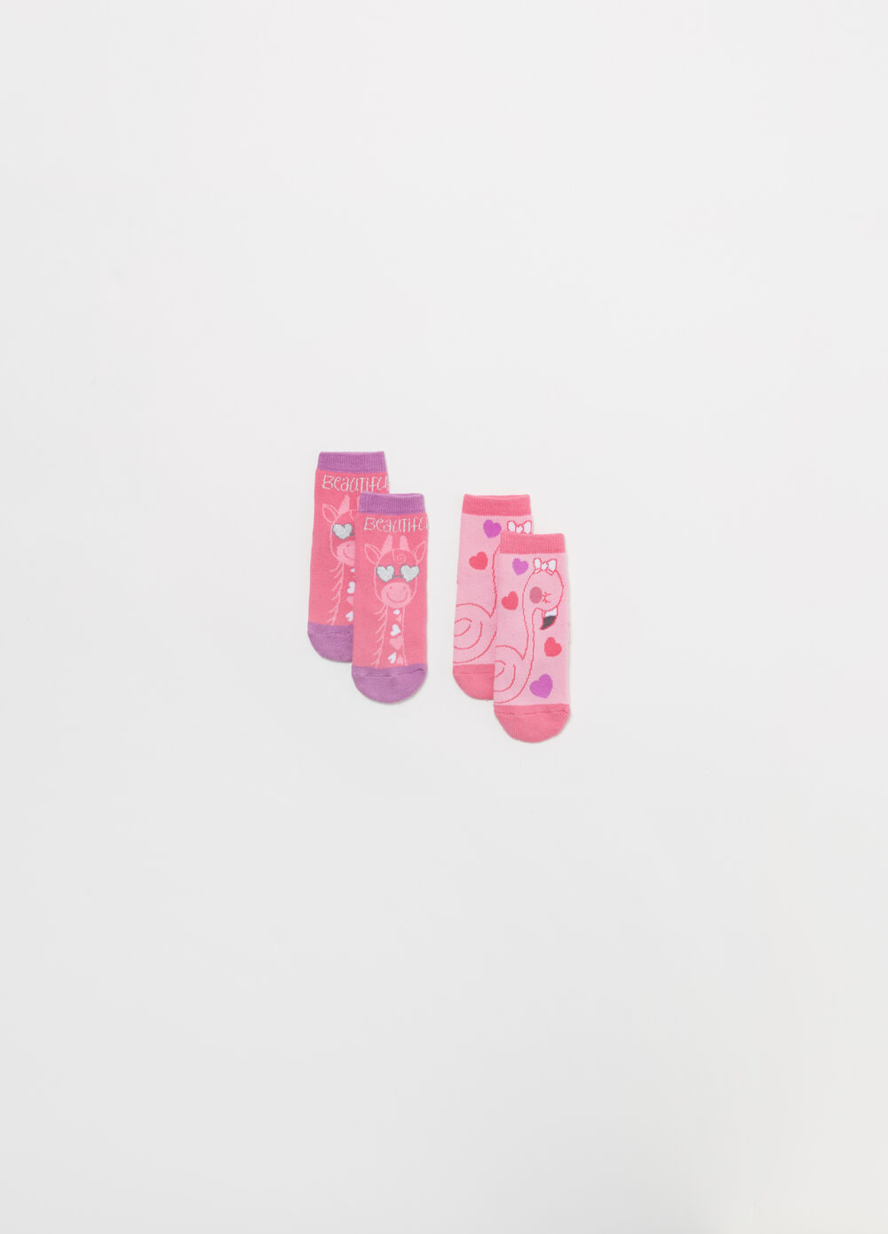 Two-pair pack socks in BCI cotton blend with hearts