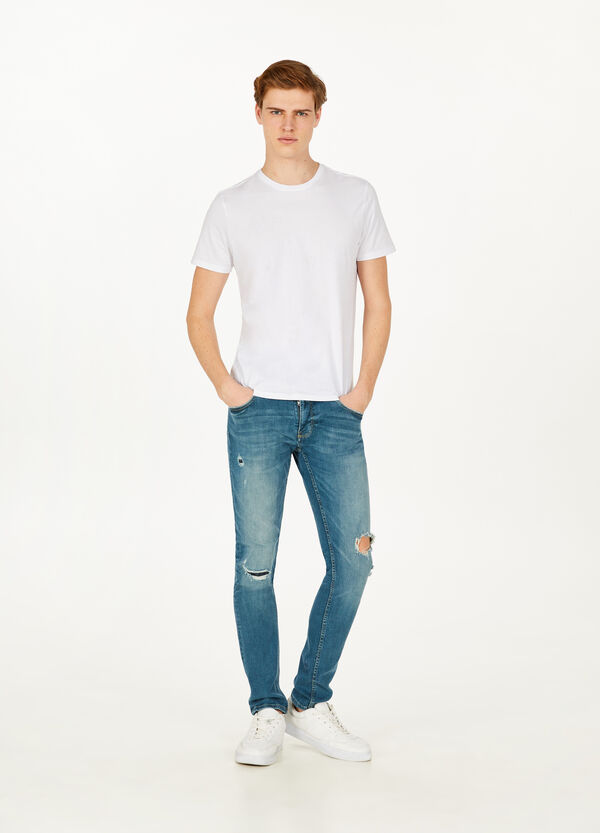 Jeans skinny fit stretch con strappi