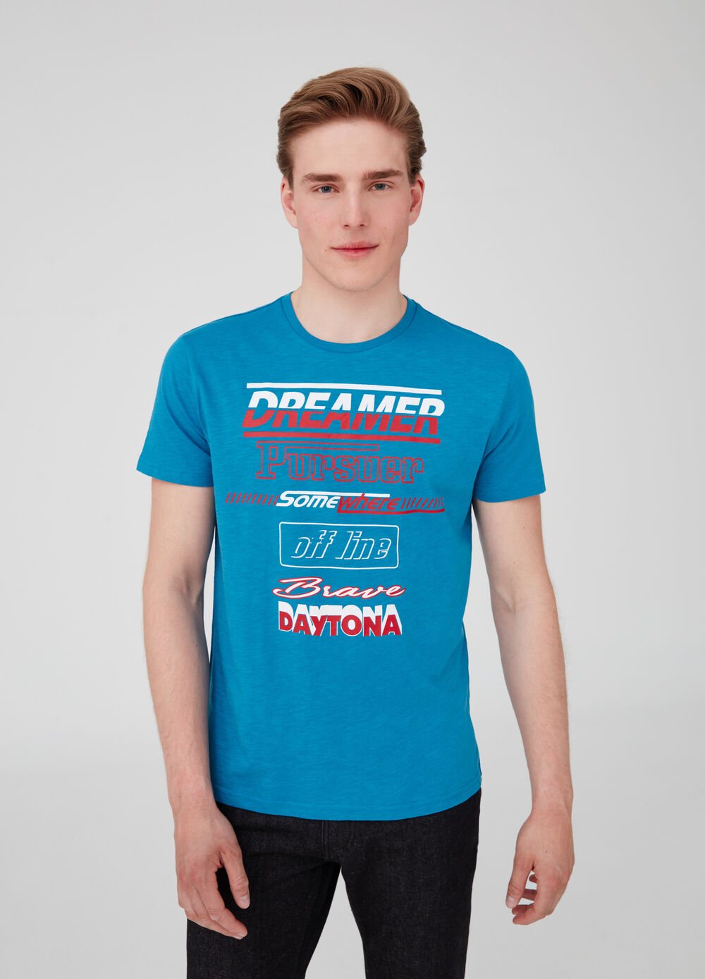 T-shirt in cotone jersey stampa lettering