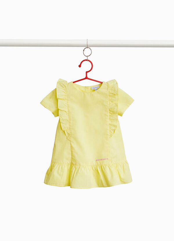 Cotton dress with ruffles and embroidery
