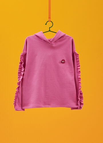 100% cotton sweatshirt with pleated flounces
