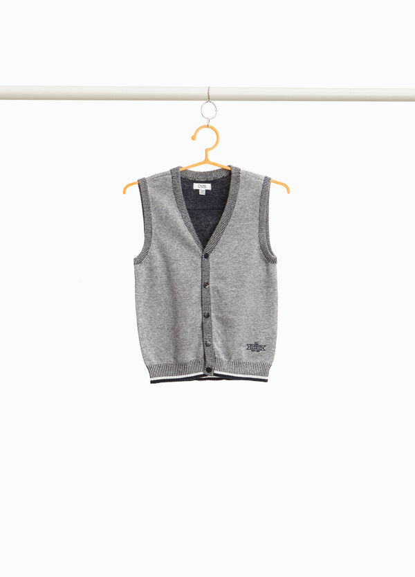 Gilet in 100% cotton with two-tone ribbing