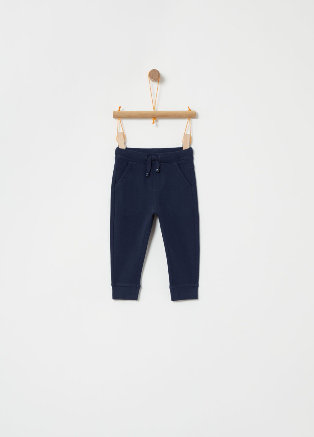 Cotton piquet trousers with drawstring