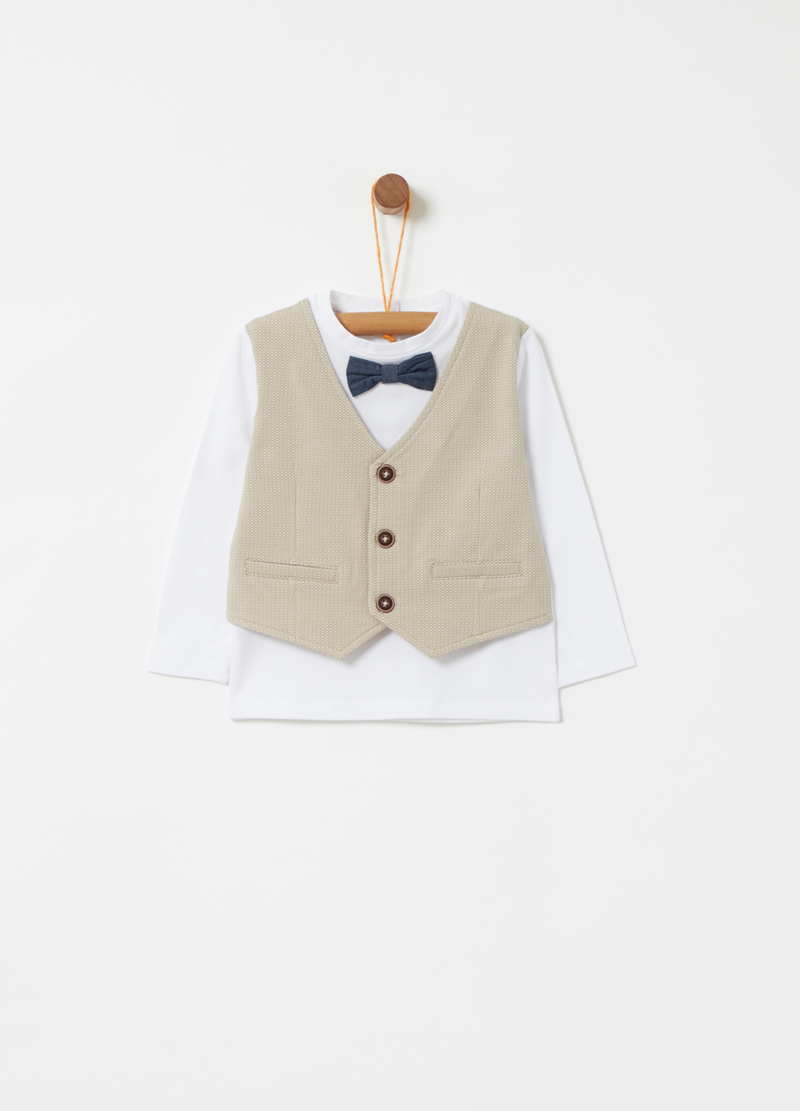 T-shirt with bows and gilet image number null
