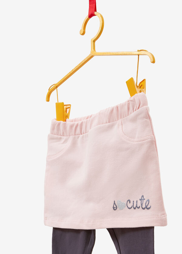 Stretch cotton skirt with leggings