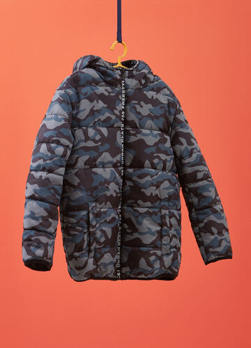 Quilted jacket with camouflage pattern
