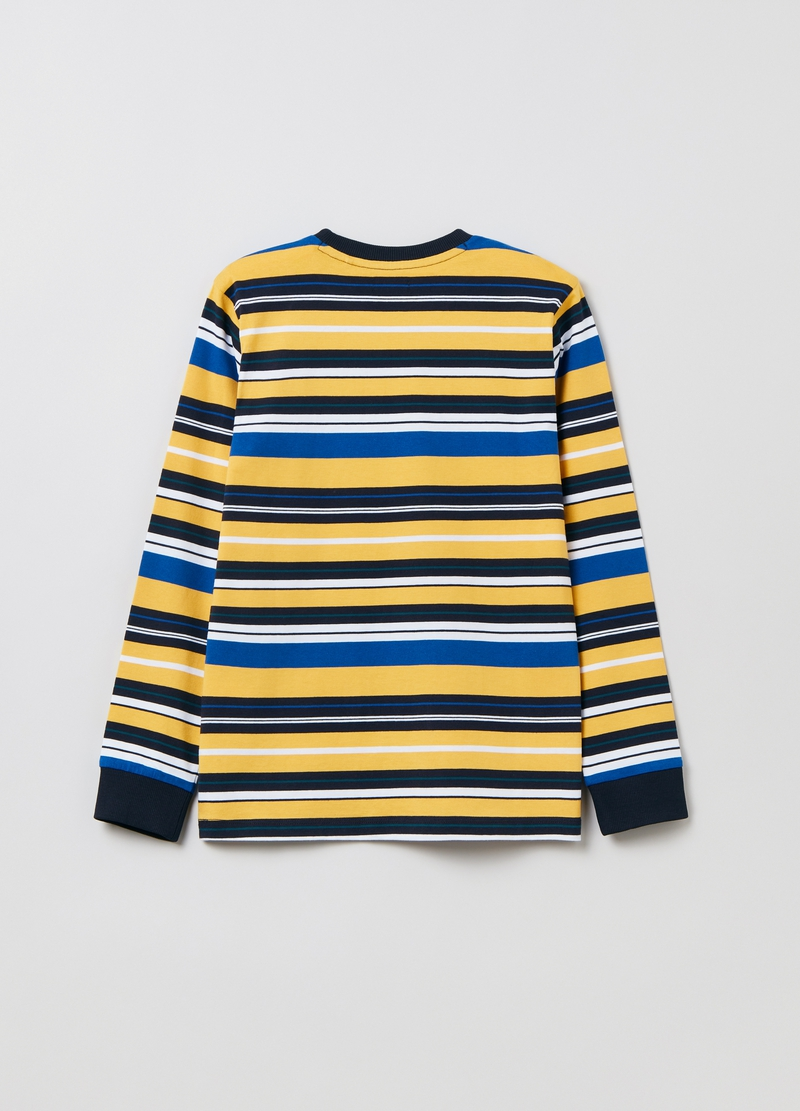 Multicoloured striped T-shirt in cotton image number null