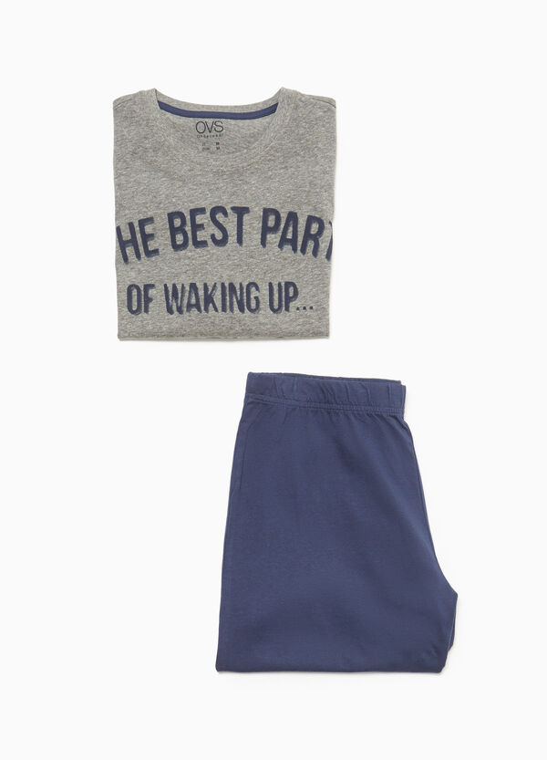 Cotton pyjamas with printed lettering