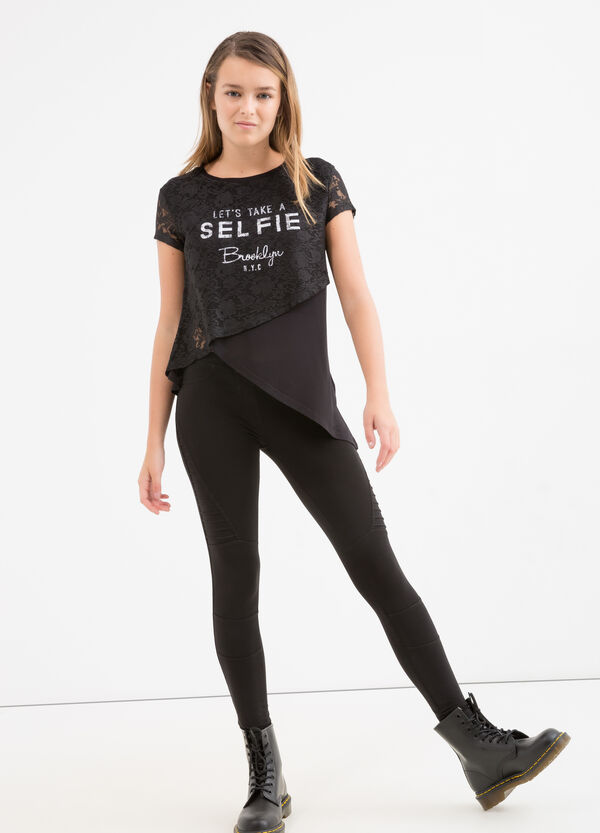 Stretch cotton Teen leggings with embossed stitching | OVS