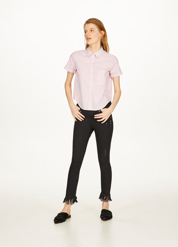 Skinny-fit, cropped stretch jeans with studs