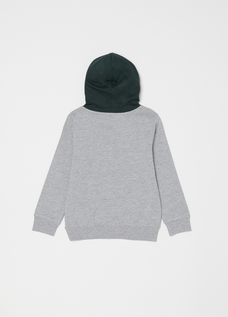 Mélange sweatshirt with hood and print image number null