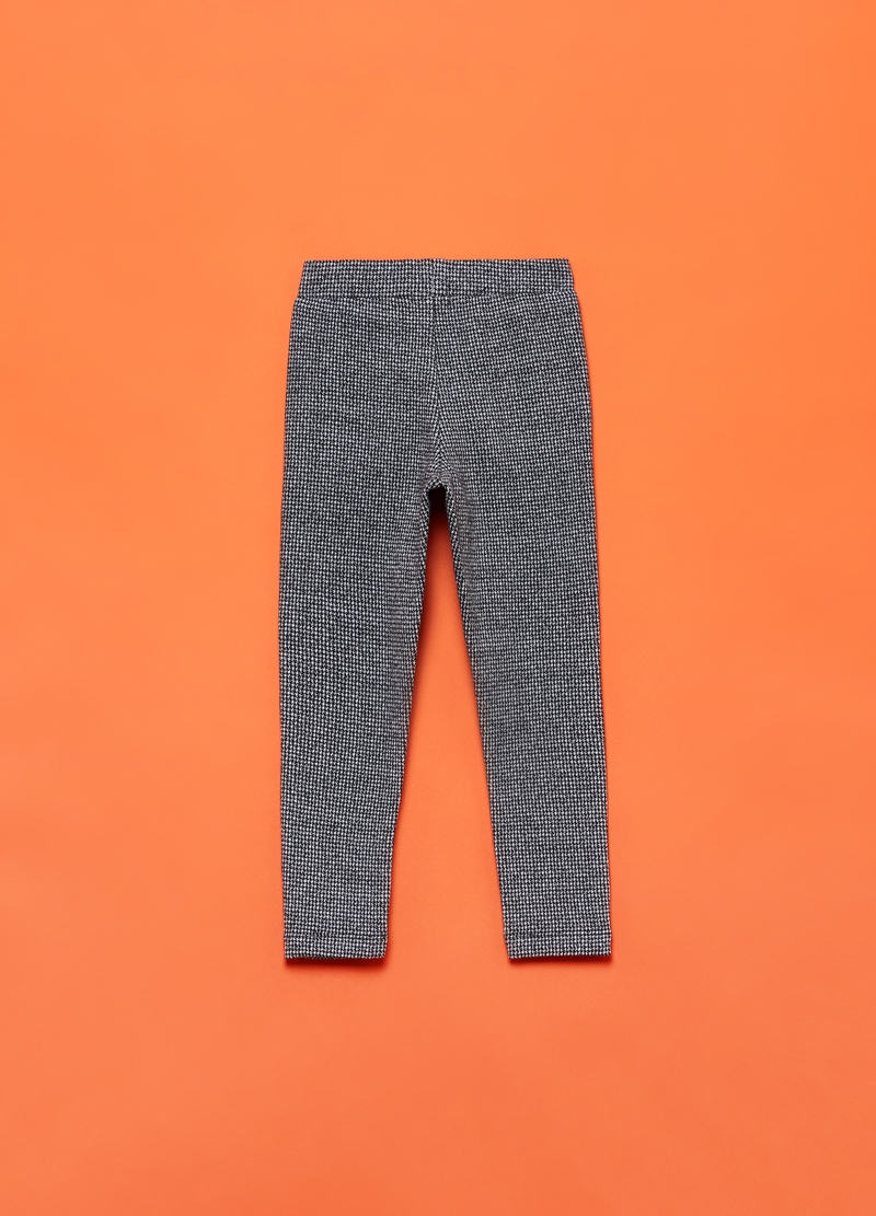 Stretch trousers with hounds' tooth pattern image number null