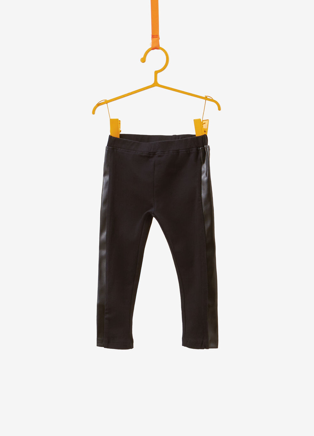 Cotton leggings with leather-look bands