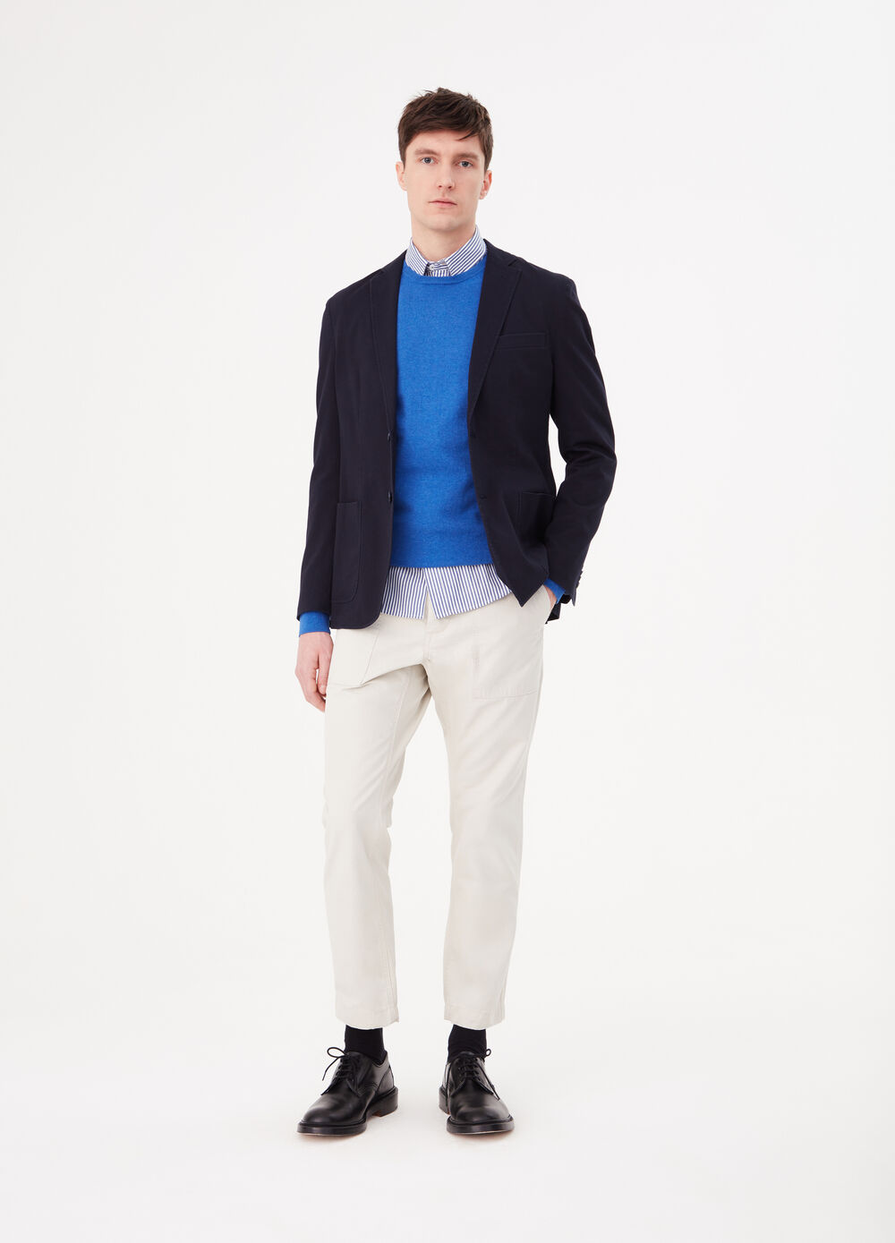 Blazer with stretch cotton lapels and pockets