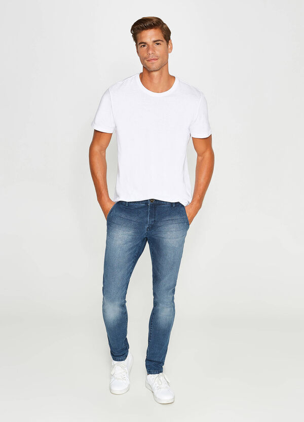 Slim-fit stretch jeans with whiskering | OVS