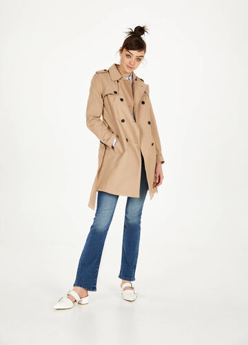 Cotton blend trench with belt