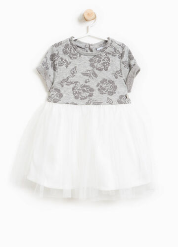 Floral dress with tulle and lurex