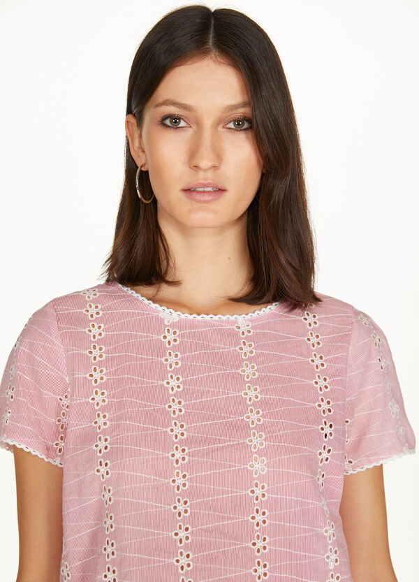 T-shirt pizzo a righe con passamaneria